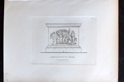 Moses 1840's Antique Print. An Altar from the Musco Pio-Clementino 51